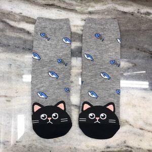 Dark Gray Cute Cat Socks